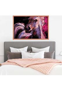 Quadro Love Decor Com Moldura Cavalo Em Tons De Lilás Rose Metalizado Grande