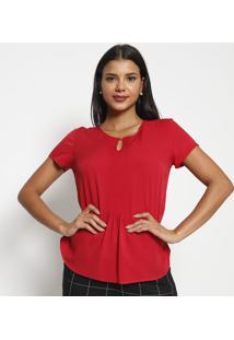 Blusa Com Pregas & Pespontos-Vermelha-Vip Reservavip Reserva