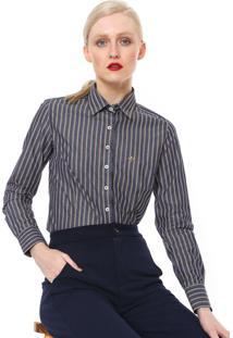 ... Camisa Dudalina Slim Listras Azul Amarela 11af110a3b991
