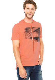 Camiseta Calvin Klein Jeans Estampa Craquelada Coral