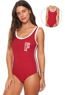 Body Fiveblu Canelado Vermelho/Branco