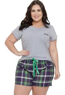 Pijama Short Doll Plus Size Feminino Super Família Luna Cuore