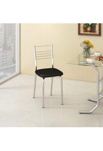Cadeira De Aço Veneza C109 Compoarte Cromado/Preto