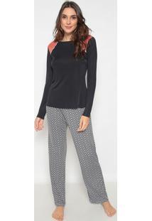Pijama Com Recortes- Preta & Laranja Escuro- Cor Comcor Com Amor
