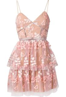 Self-Portrait Vestido Com Bordado Floral - Rosa