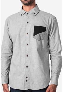 Camisa Bolso Recorte Preto 200076