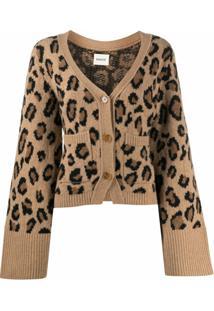 Khaite Cardigan De Cashmere E Tricô Com Estampa De Leopardo - Marrom