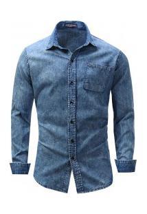 Camisa Jeans Masculina Bolso Frontal Manga Longa - Azul