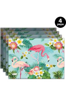 Jogo Americano Mdecore Flamingo 40X28 Cm Verde 4Pçs