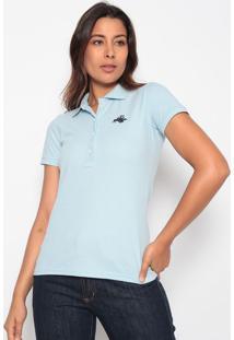 Polo Lisa Com Bordado - Azul Claro & Azul Escuroclub Polo Collection