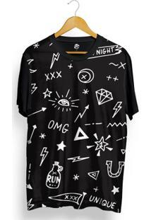 Camiseta Bsc Unique Full Print - Masculino-Preto