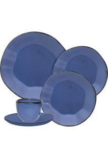 Aparelho De Jantar Oxford Ryo Porcelana 30 Peças Azul Santorini