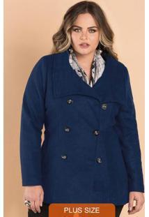 adf6d96c9 Outono Inverno 2015; Premium. Casaco Lã Batida Feminino Secret Glam Azul
