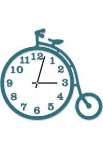 Relógio De Parede Decorativo Escultura Bicicleta Ágata Com Detalhe Branco 36X40Cm Grande