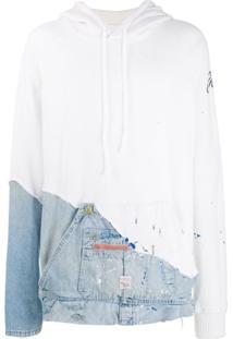 Greg Lauren Jaqueta Jeans Com Sobreposição E Capuz - Branco