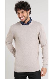Suéter Masculino Básico Em Tricô Bege