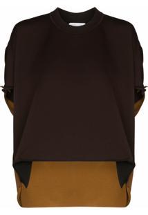 Bottega Veneta Blusa Bicolor - Marrom