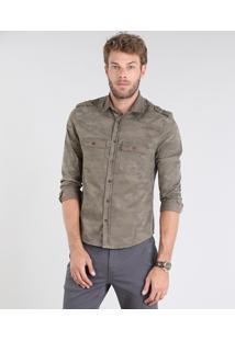 Camisa Masculina Comfort Estampada Camuflada Com Bolsos E Martingale Manga Longa Verde Militar