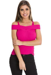 Blusa Beautifull Hit Tricot Decote Princesa Pink