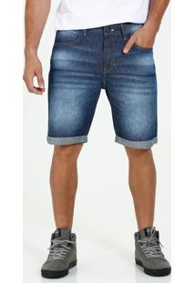 Bermuda Masculina Reta Jeans Barra Dobrada Marisa