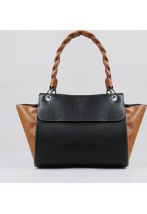 Bolsa Feminina Bicolor Com Alça Torcida Preta - Único