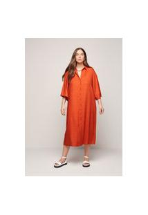 Vestido Feminino Chemise Em Tecido De Viscose - Laranja