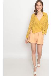 Blusa Listrada Com Transpasse- Amarelo Escurola Chocolãª