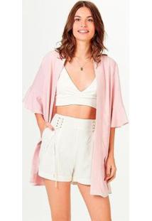 Casaco Kimono Em Viscose Com Linho Feminino - Feminino-Rosa