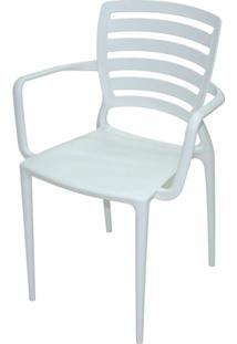 Cadeira Com Braco Sofia Encosto Vazado Horizontal Cor Branca - 26154 - Sun House