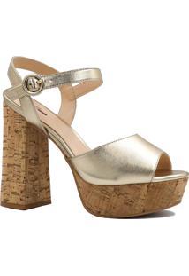 Sandália Zariff Shoes Salto Grosso Meia Pata Dourado