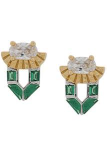 V Jewellery Par De Brincos Freya Com Tachas - Dourado