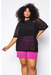 Camiseta Almaria Plus Size Alt Brand Tule Feminina - Feminino-Preto