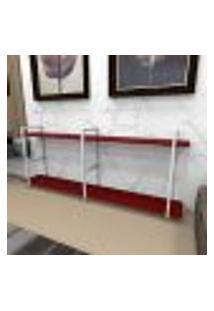 Aparador Industrial Aço Cor Branco 180X30X68Cm (C)X(L)X(A) Cor Mdf Vermelho Modelo Ind37Vrapr