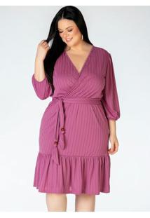 Vestido Plus Size Transpassado Rosa Com Faixa
