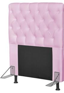 Cabeceira Cama Box Solteiro 90Cm Cristal Corino Rosa - Js Móveis