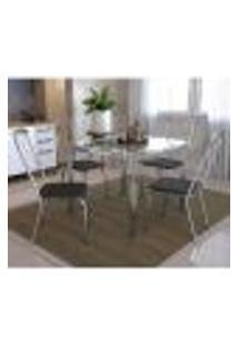 Conjunto De Mesa Com Vidro E 4 Cadeiras Em Metal Kappesberg Cromado/Preto