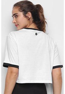 Camiseta Olympikus Oversized Print Manga Longa Feminina - Feminino-Branco+Preto