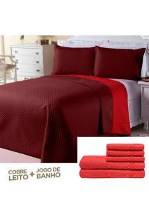Kit Dourados Enxovais Combo Cobre Leito Jogo De Banho Dual Color Bordô/Vermelho Queen 08 Peças