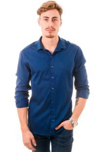 Camisa Bypride Manga Longa Slim Azul Escuro