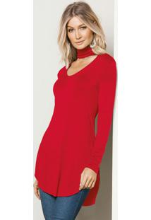 Blusa Alongada Com Gola Vermelha