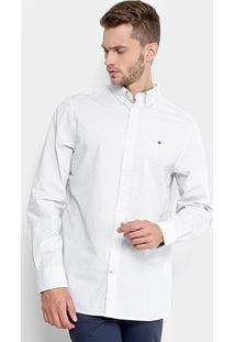 Camisa Fit Mini Print Tommy Hilfiger Manga Longa Masculina - Masculino-Branco+Azul