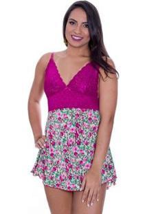 Camisola Sexy Dany Estilo Sedutor Estampada Em Liganete E Renda - Feminino-Violeta
