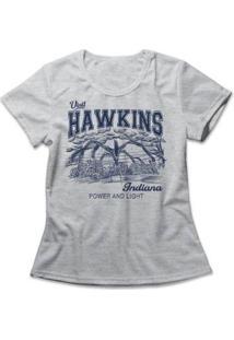 Camiseta Feminina Stranger Things Hawkins - Feminino-Mescla