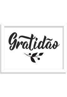 Quadro Decorativo Gratidão Branco - Médio
