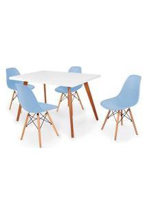 Conjunto Mesa De Jantar Gih 120X80Cm Branca Com 4 Cadeira Eames Eiffel - Azul Claro