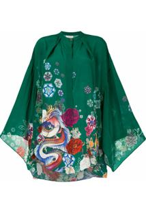 Camilla Blusa Com Mangas Kimono - Verde