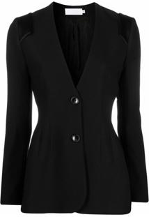 Raquette Slim Fit Collarless Blazer - Preto