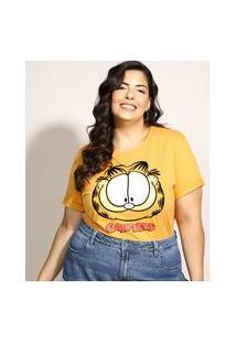 Blusa Feminina Plus Size Garfield Flocada Manga Curta Decote Redondo Mostarda