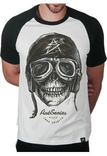 Camiseta Artseries Raglan Manga Curta Caveira Motoqueiro Rider Branco