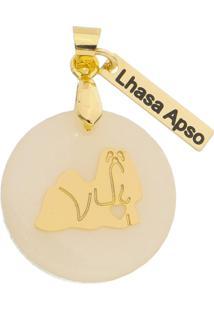 Pingente Drusi Semi Joias Dog Lhasa Apso Folheado Em Ouro 18K